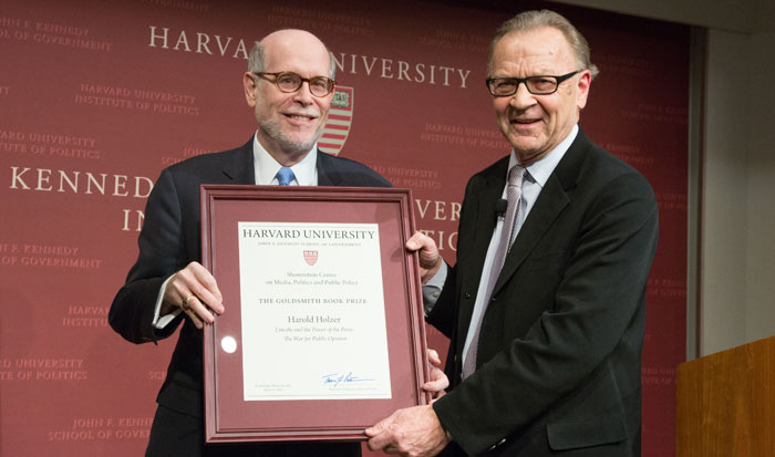 Harold Holzer won the 2016 Goldsmith Book Prize in the trade category for Lincoln and the Power of the Press: The War for Public Opinion.