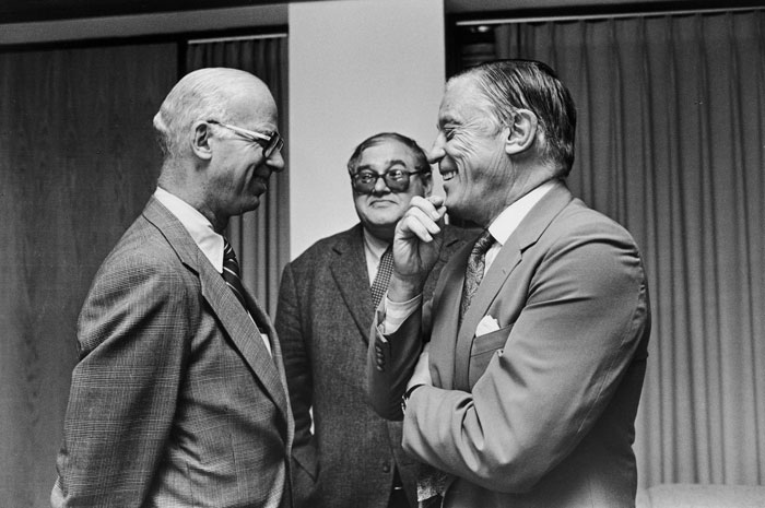 David Broder, Nelson W. Polsby (Acting Director of the Shorenstein Center, 1986-87), and Ben Bradlee