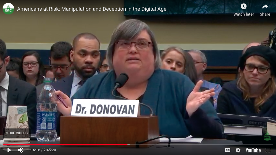 Dr. Joan Donovan testifies in Congressional Hearing on January 8 2020