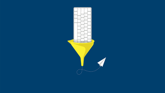 Illustration of a keyboard going into a funnel with a paper airplane coming out the other end